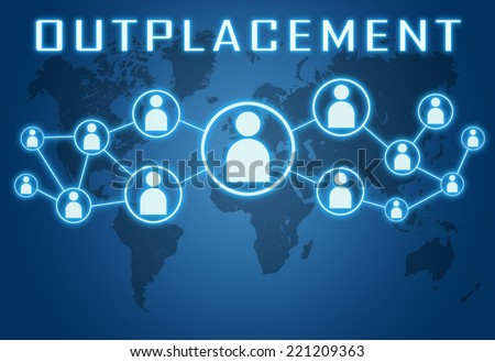 Outplacement concept on blue background with world map and social icons. - stock photo