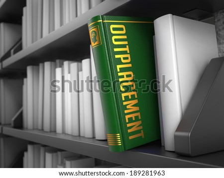 Outplacement - Green Book on the Black Bookshelf between white ones. Business Concept. - stock photo