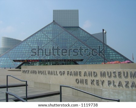 Outside of the Rock and Roll Hall of Fame in Cleveland, OH - stock photo