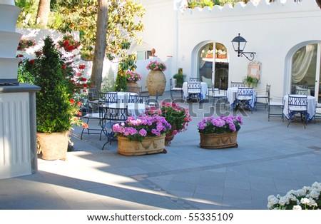 Outside terrace of restaurant - stock photo