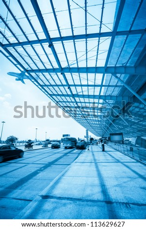 outside the airport terminal,flight departure and catch a plane passengers - stock photo