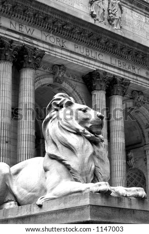 Outside the New york Public library - stock photo