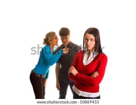 outsider student girl (isolated on white) - stock photo