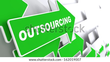"Outsourcing - Business Background. Green Arrow with ""Outsourcing"" Slogan on a Grey Background. 3D Render. - stock photo"