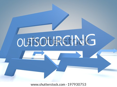 Outsourcing 3d render concept with blue arrows on a bluegrey background. - stock photo