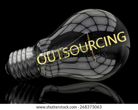 Outsourcing - lightbulb on black background with text in it. 3d render illustration. - stock photo