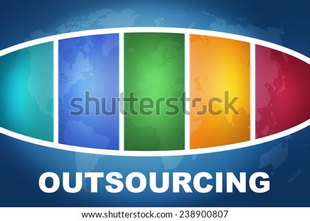 Outsourcing text illustration concept on blue background with colorful world map - stock photo
