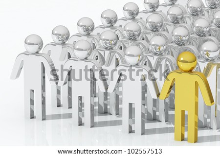 Outstanding gold person , team concept - stock photo