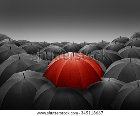 Outstanding Red umbrella among many dark crowd with gradient background - stock photo