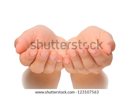Outstretched cupped hands of young woman - isolated on white background - stock photo