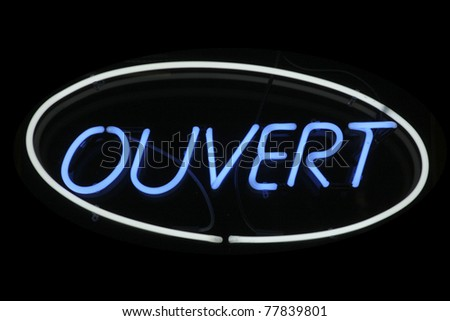 Ouvert neon signage - stock photo