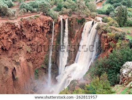 Ouzoud Waterfalls, Grand Atlas village of Tanaghmeilt, Azilal province,  Morocco - stock photo