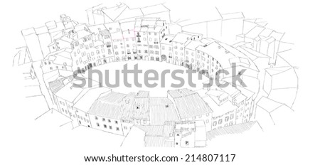 Oval City Square in Lucca, Italy - urban sketch - stock photo