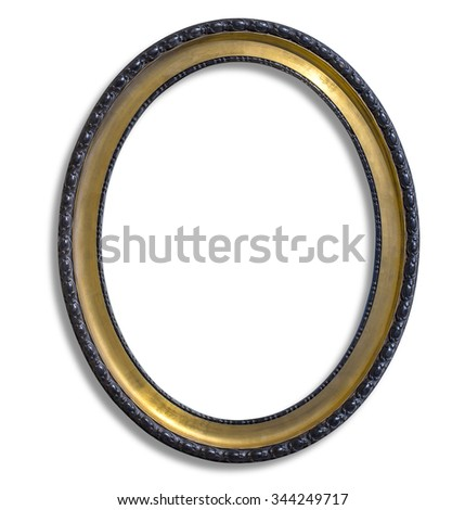 oval gold picture frame. Isolated over white with clipping path - stock photo
