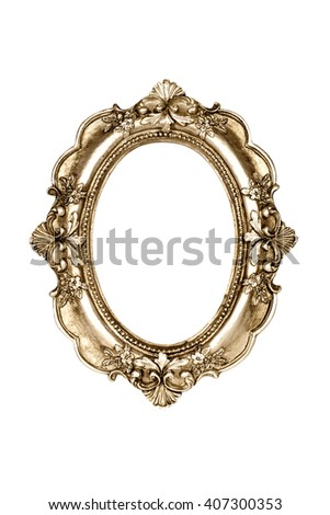 Oval gold picture frame isolated with clipping path. - stock photo