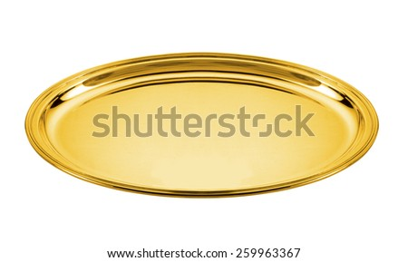 oval golden plate isolated on white  - stock photo