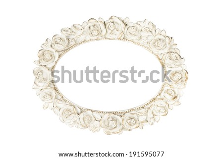 Oval picture frame with rose decor, clipping path included. - stock photo