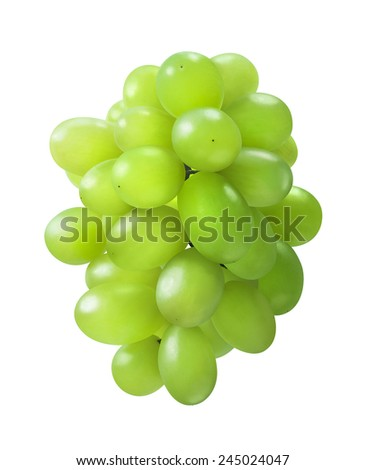 Oval shaped green grapes bunch isolated on white background as package design element - stock photo