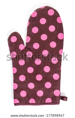 Oven glove on isolated white background - stock photo