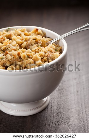 Oven roasted turkey stuffing in a bowl - stock photo