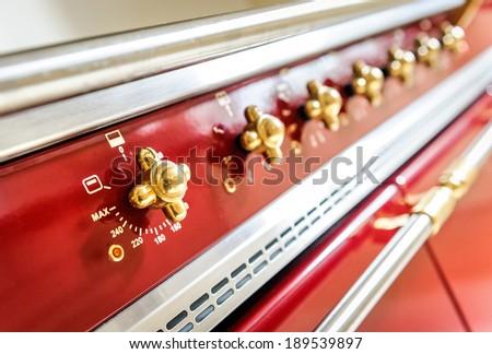 oven temperature control closeup profesional equipement - stock photo