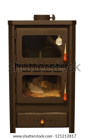 oven with wood ready for fire isolated over white background - stock photo