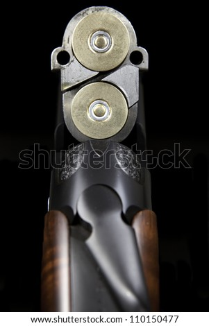 Over and Under Shotgun  - Seen From The Loading Breach - stock photo