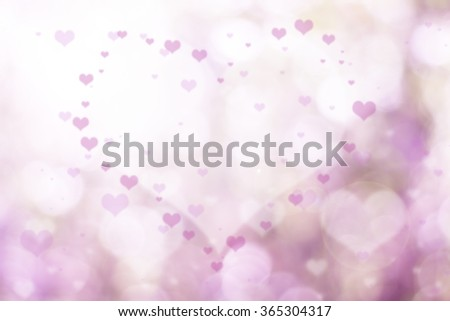 Over blur pink flower with De focused heart bokeh textures valentine day background with light flare from conner, art, love, pink love, sweetheart, valentine day concept. backdrop, Happy valentine day - stock photo