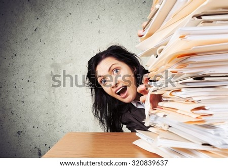 Over-Burdened with Documents. - stock photo