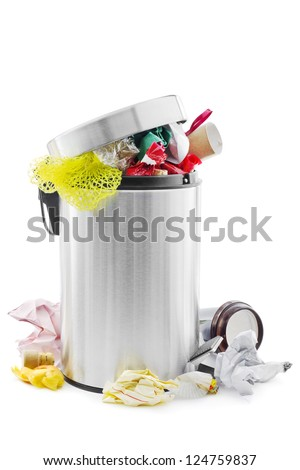 Over full trash can on white - stock photo