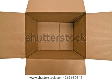 Over Head Shot Of Opened Empty Box On White Background - stock photo