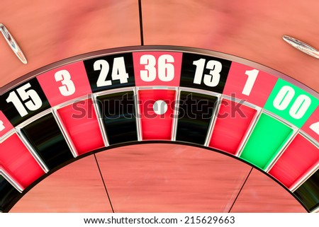 Over head sot of an American roulette wheel winning number thirty six - stock photo