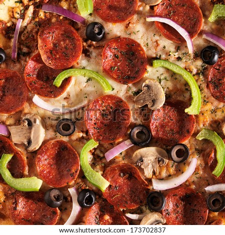 over head view of pizza with supreme toppings - stock photo