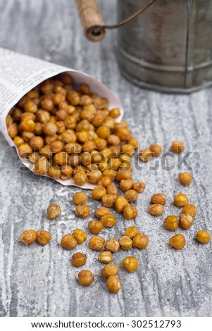 Over roasted chickpea - stock photo