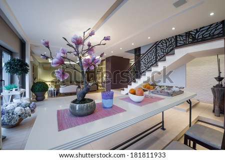 Over table view to the luxury apartment interior  - stock photo