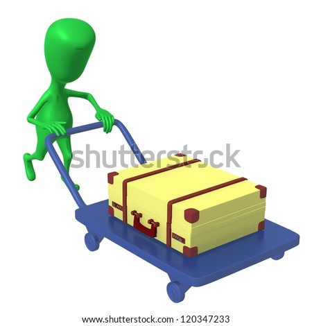 Over view green puppet push trolley with case - stock photo