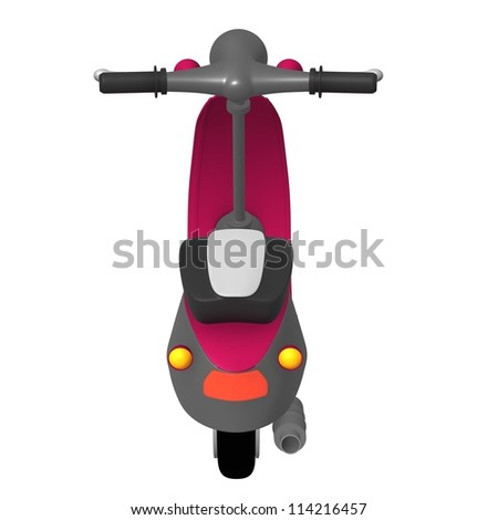 Over view isolated scooter parket at white studio - stock photo