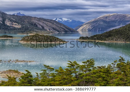 Over View of Pia Fjord, Patagonia, Chile - stock photo