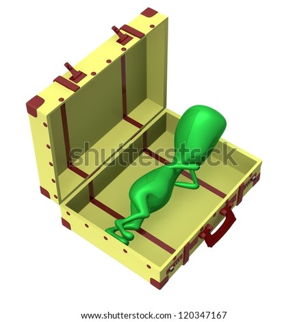 Over view puppet sleeping in opened big suitcase - stock photo