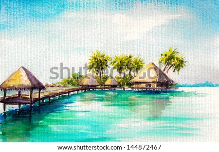 Over water bungalows in blue sea, watercolor painted. - stock photo