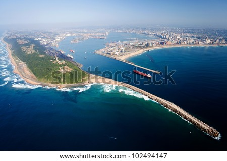 overall aerial view of Durban, south africa - stock photo