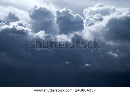 Overcast sky with dark storm clouds - stock photo