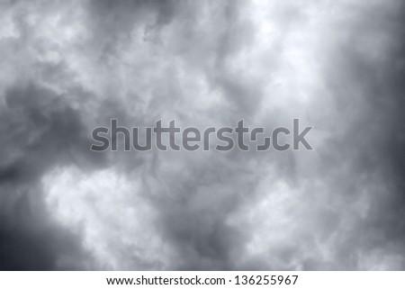Overcast sky with dark storm rain clouds - stock photo
