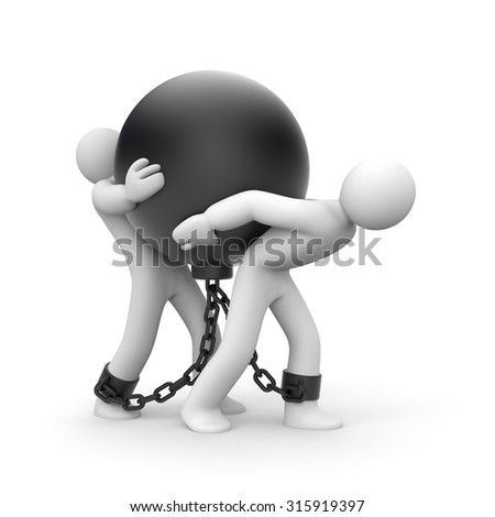 Overcoming difficulties. Group of  people trapped with metal ball - stock photo