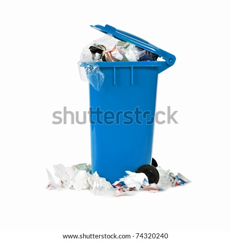 overflowing blue garbage bin - stock photo