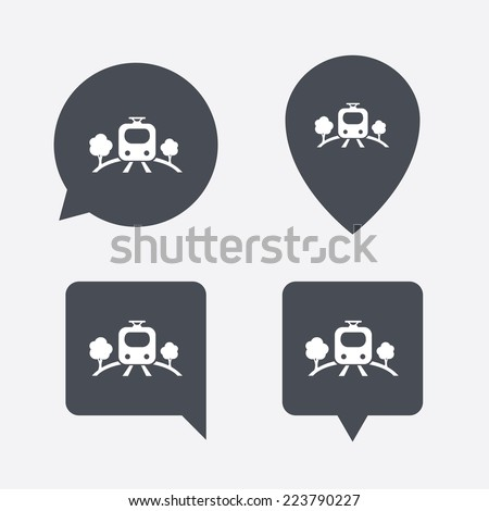 Overground subway sign icon. Metro train symbol. Map pointers information buttons. Speech bubbles with icons. - stock photo