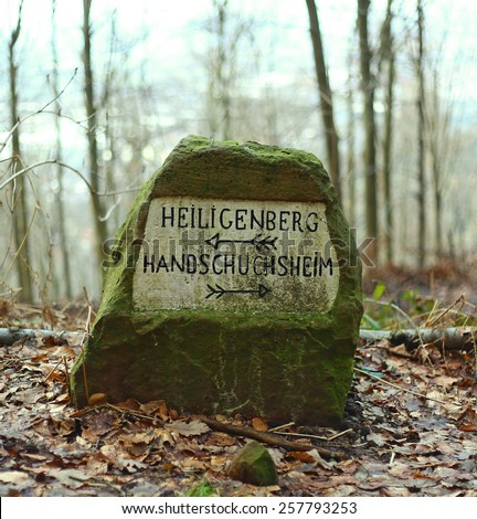 Overgrown with green moss roadside antique stone with pointing arrows in German inscription on the forest Bokeh background. Old road sign. Heiligenberg, Handschuchsheim, Heidelberg, 2015  - stock photo