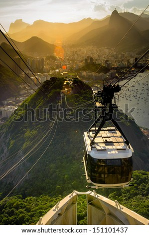 Overhead cable car approaching Sugarloaf Mountain, Rio De Janeiro, Brazil - stock photo