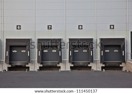 Overhead gate in logistic park - stock photo