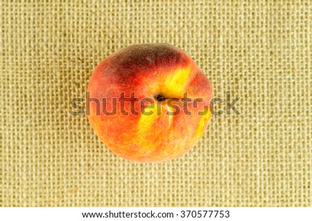 Overhead of delicious red and yellow peach - stock photo